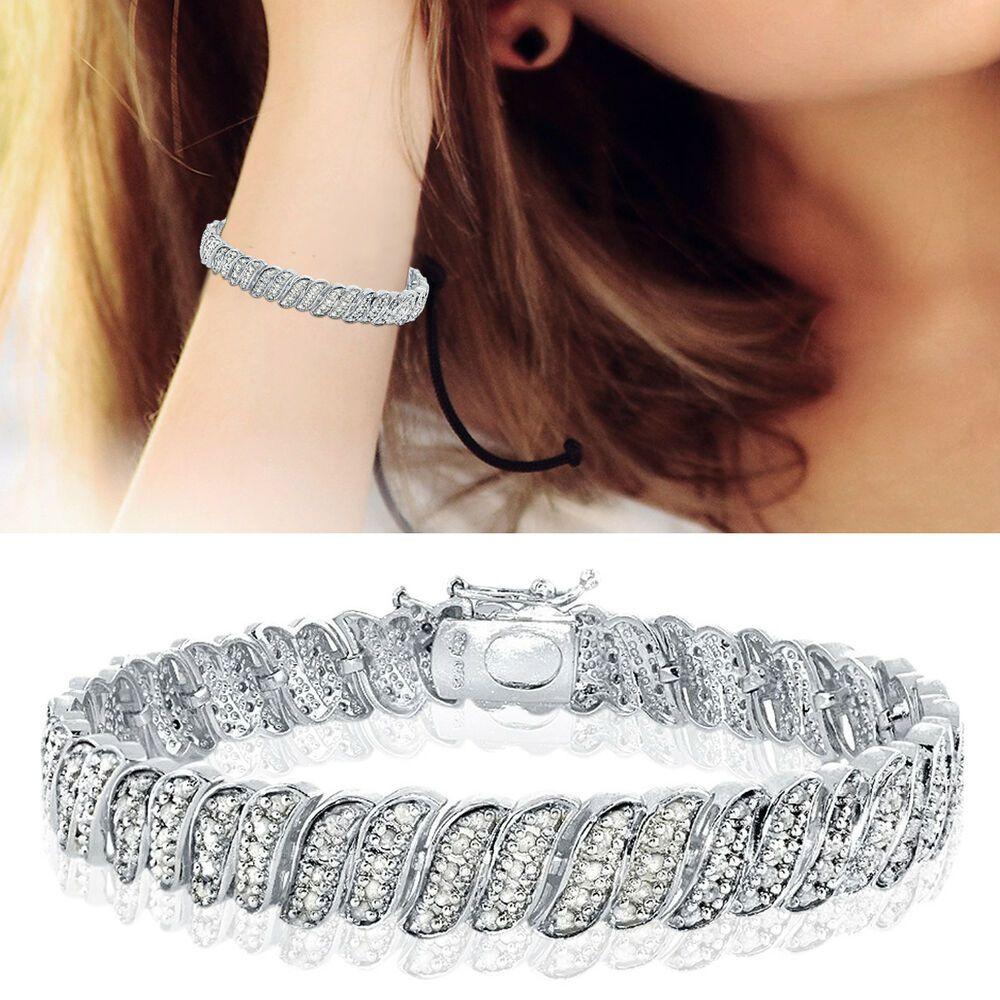 14K White Gold Filled Sterling Silver 100CT Diamond Wave Link Tennis Bracelet