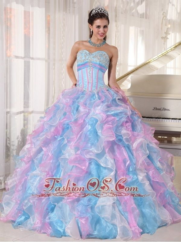 df25fca9666 Beautiful Multi-color Quinceanera Dress Sweetheart Organza Appliques Ball  Gown