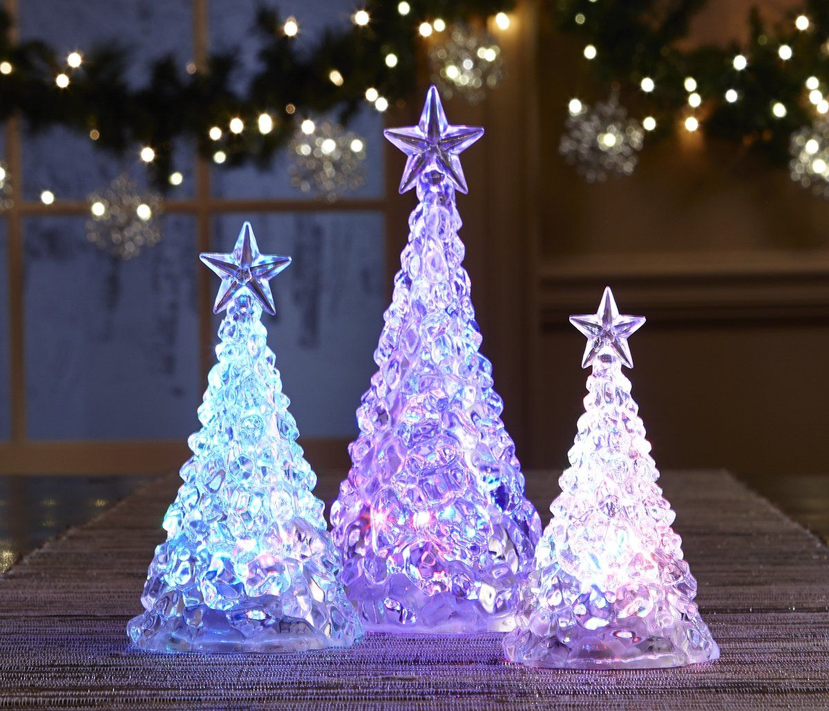 Fao Schwarz Color Changing Acrylic Trees Crystalline