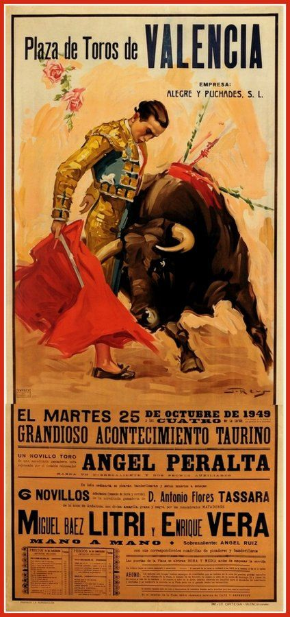 Plaza Werbung Spain Bullfight Valencia 1949 Travel Poster Print By