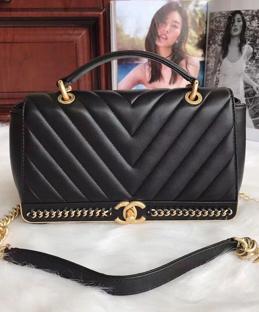 85e21b9762d36d Chanel Chevron Stitched Chain Top Handle Flap Bag A91845   Chanel ...
