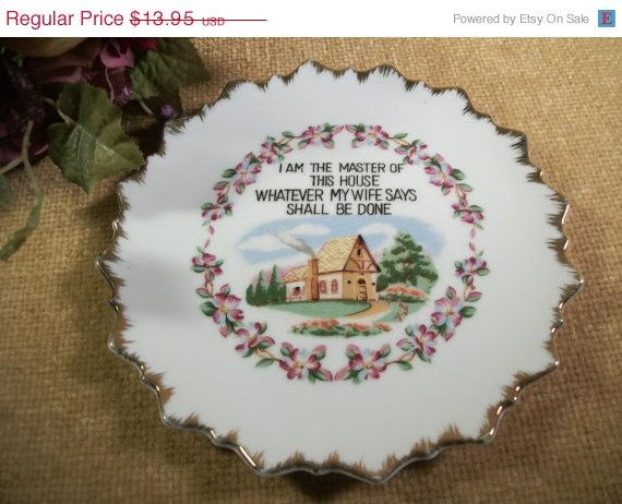 Wall Hanging Plate Master Of The House Saying Home Decor By Fairway Vintage  1950u0027S Collectible Hand