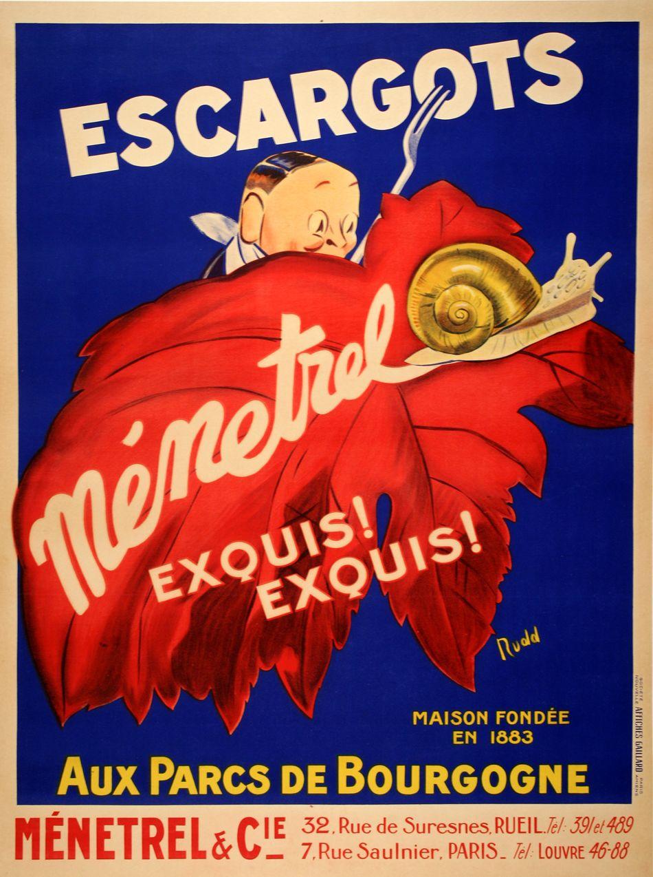 Escargots Menetrel Postergroup Original Vintage Posters Vintage French Posters Vintage Posters Vintage Poster Art