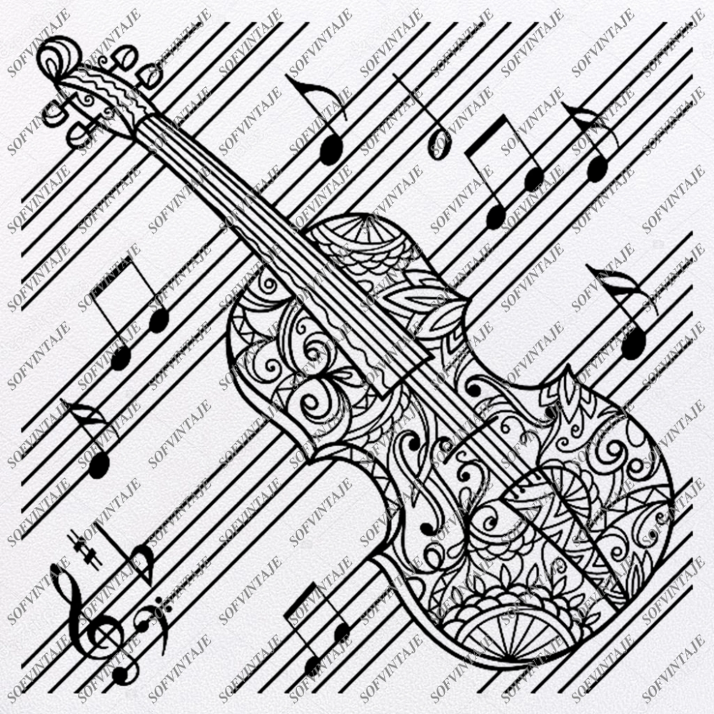 Violin Svg File Violin Music Svg Design Clipart Violin Music Svg File Music Png Vector Graphics Svg For Cricut For Silhouette Svg Eps Pdf Dxf Png J Coloring Pages Music Coloring