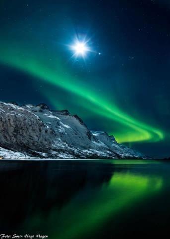 Noorderlicht met maan in ijslandschap