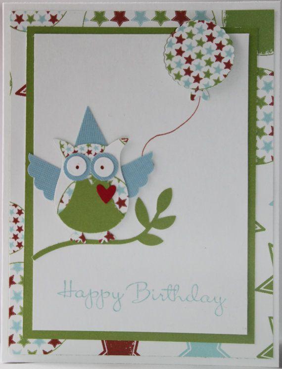 Owl Happy Birthday Handmade Card Masculine Green And Blue Star