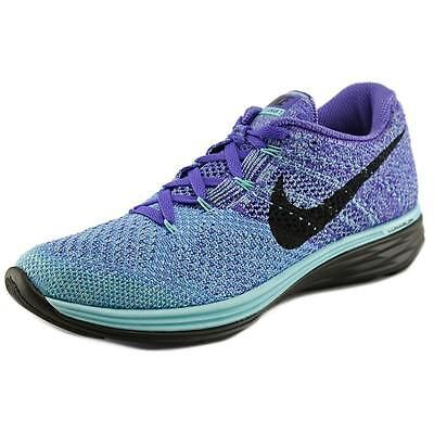 Nike Flyknit Lunar 3 Women  Round Toe Synthetic Blue Running Shoe