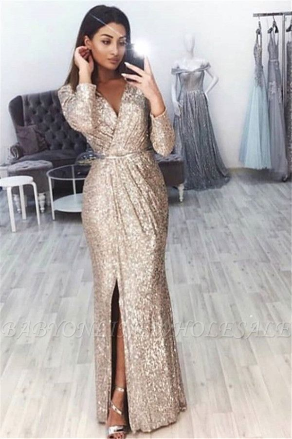 Sexy V-Neck Long Sleeves Front Slipt Mermaid Prom Dress | www.babyonlinewho... 1