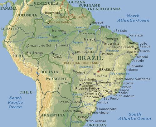Physical Map Of Brazil Brazil - Guyana physical map