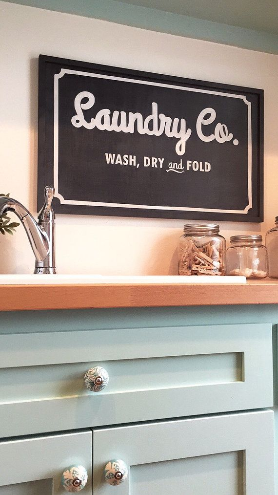 Laundry And Co Sign Delectable Laundry Sign  Vintage Laundry Cosign  Handmade Wood Laundry Sign Decorating Inspiration