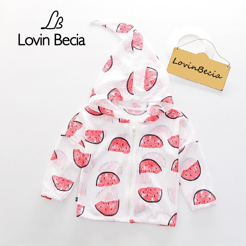2100d34c8 LovinBecia Boys Summer sunscreen jackets Baby girls Hooded Outerwear fruit  print Coats Kids Windbreaker Children fashion