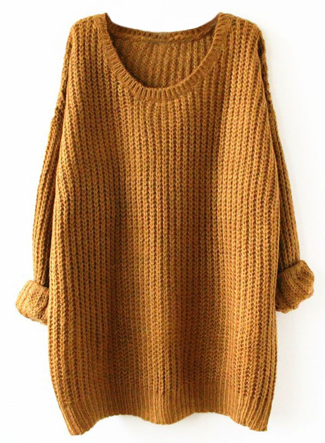 Brown Oversized Loose Fit Chunky Knit Sweater | Brown, Scoop neck ...