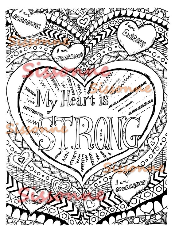 Positive Affirmation Coloring Page Instant Download By Sissonne