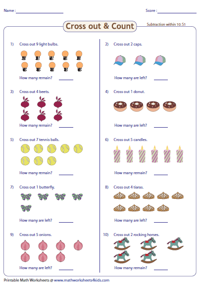 Cross Out And Count Subtraction Worksheets Subtraction Worksheets