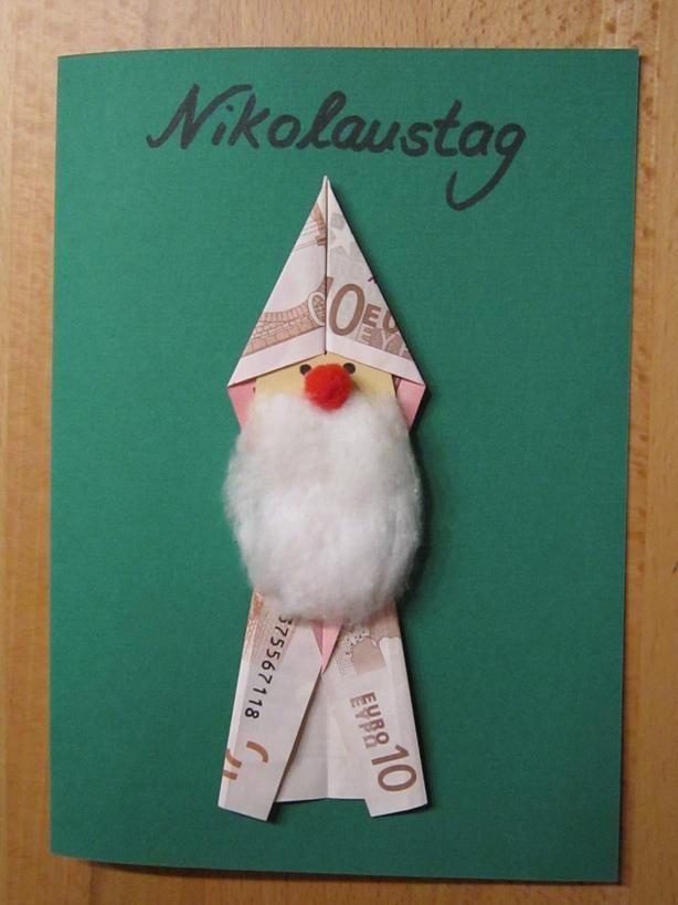 Ein Geldgeschenk in Nikolaus-Form. So geht\'s. | ✂ Basteln im Advent ...