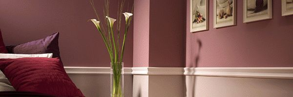 A white Two tone Chair rail moulding on a Wall