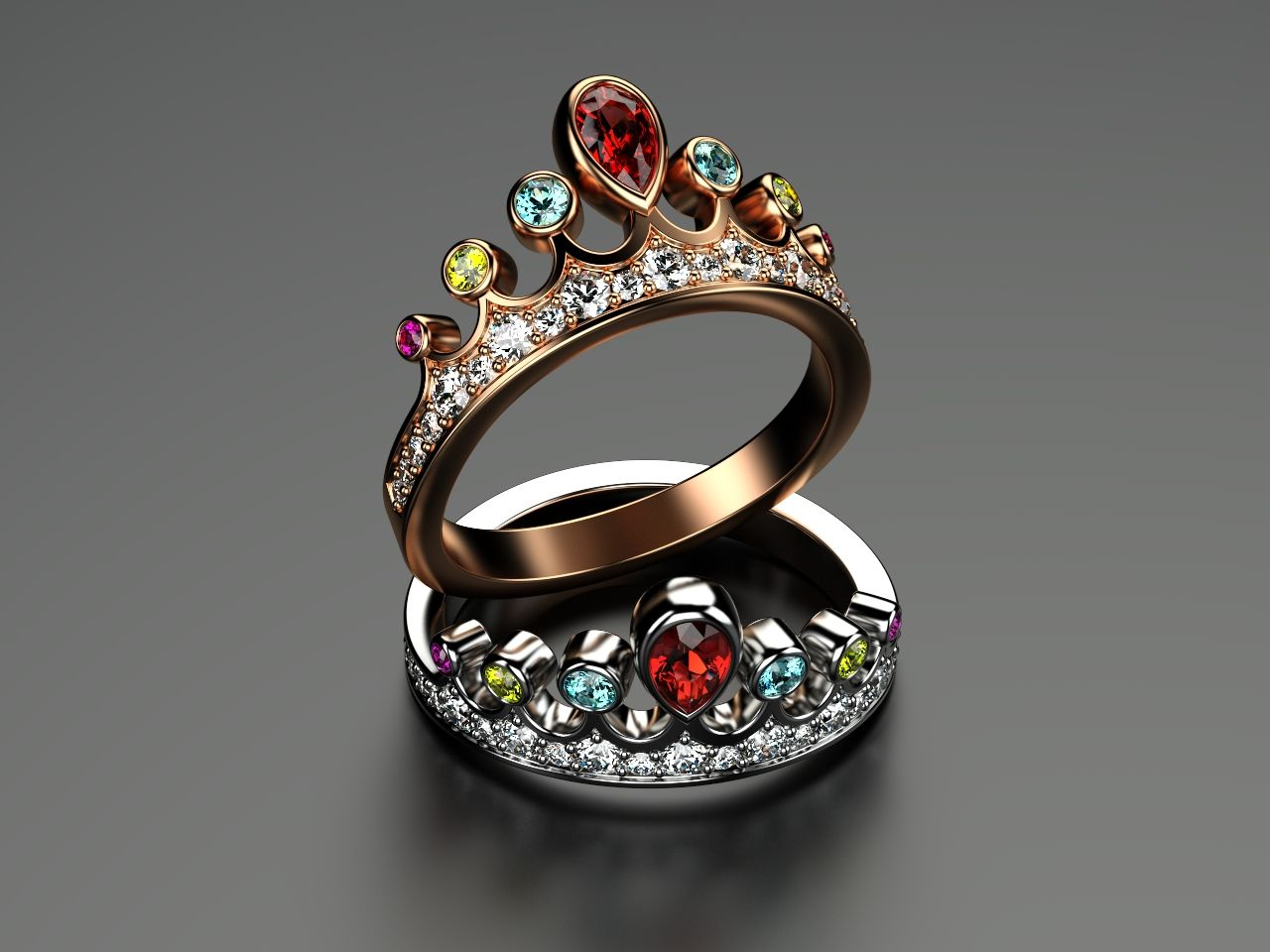 Another Tiara ring, with great color customization. For those, who live a colorful life.
