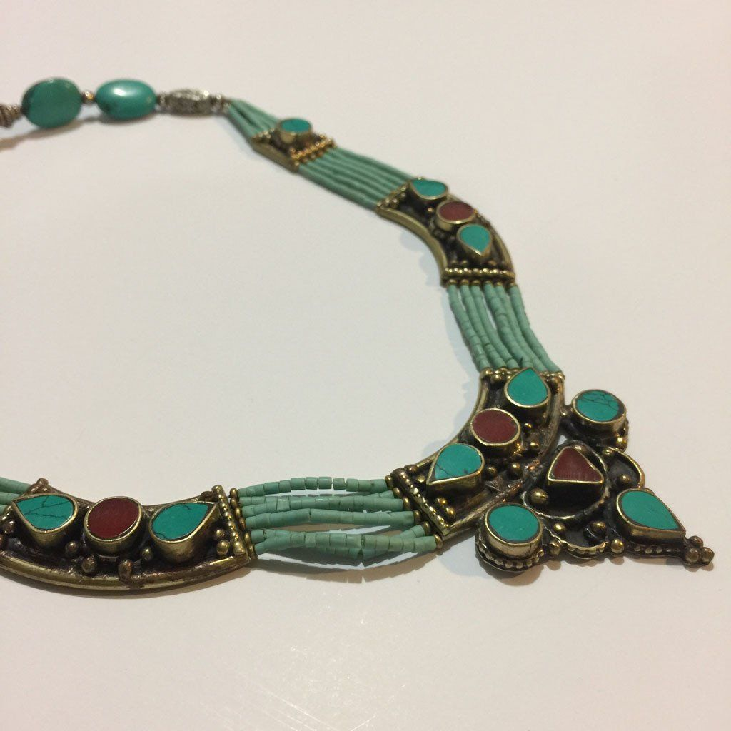 Moroccan Turquoise and Coral Necklace