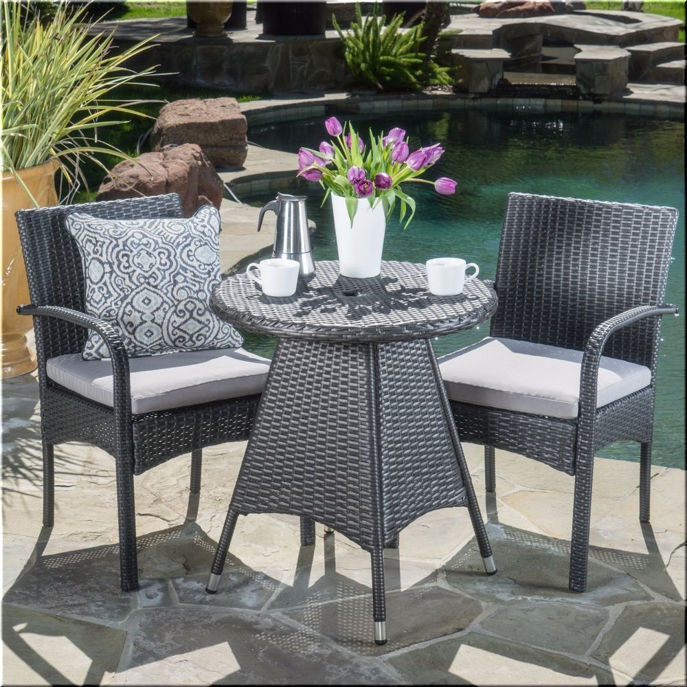 Charming Patio Bistro Set 3 Piece Table Chairs Gray Resin Wicker Outdoor Furniture |  EBay Part 11