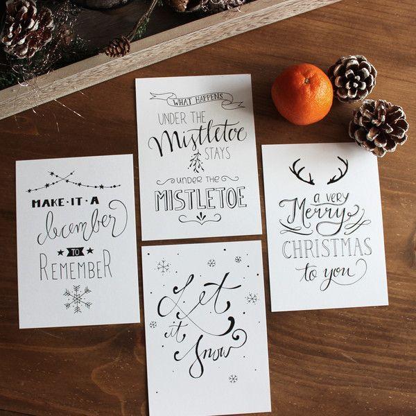 4er postkarten set weihnachten handlettering - Postkarten selber basteln ...