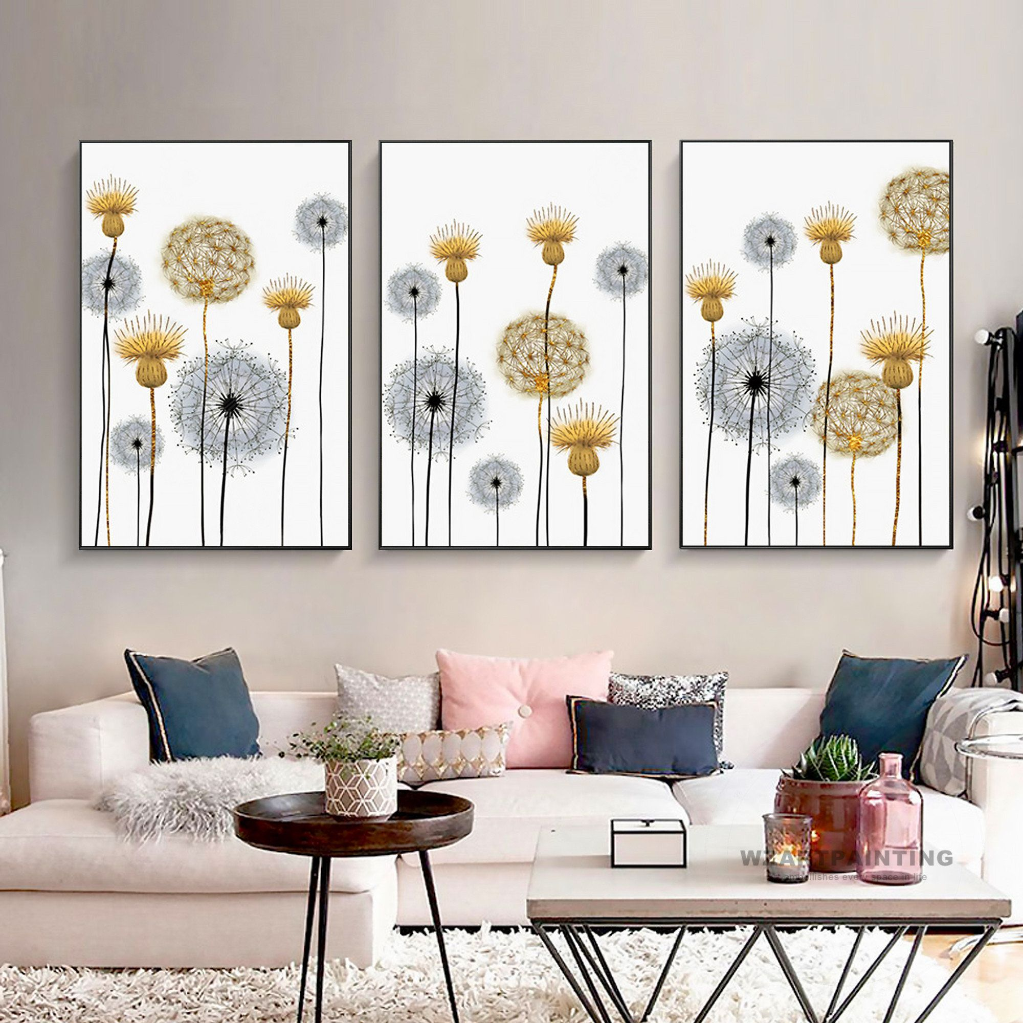 Frame Wall Art Set Of 3 Nordic Style Dandelion Plant Canvas Etsy Framed Wall Art Sets Frames On Wall Wall Art Sets