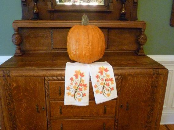 Flour Sack Tea Towels Fall Tree Design by thegracioushome on Etsy, $20.00