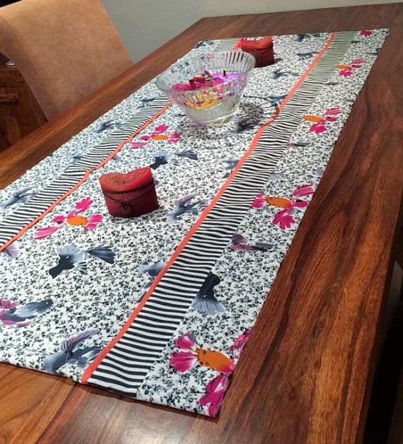 Mono Tropical Table Runner Piped In Orange With Striped By Eldebez
