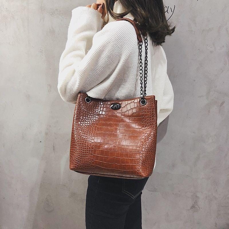 Women  Pattern Crossbody Bag Shoulder Leather Bucket Bag Lady Handbag