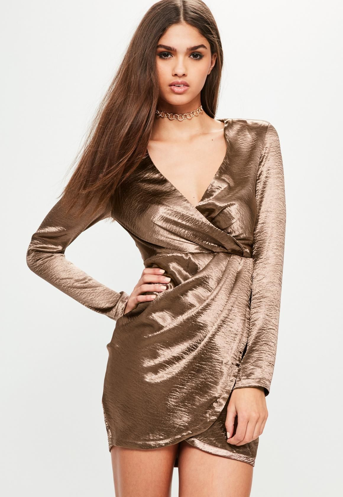 71cf07f7fe12 Missguided - Bronze Satin Long Sleeve Wrap Dress | Dress | Dresses ...
