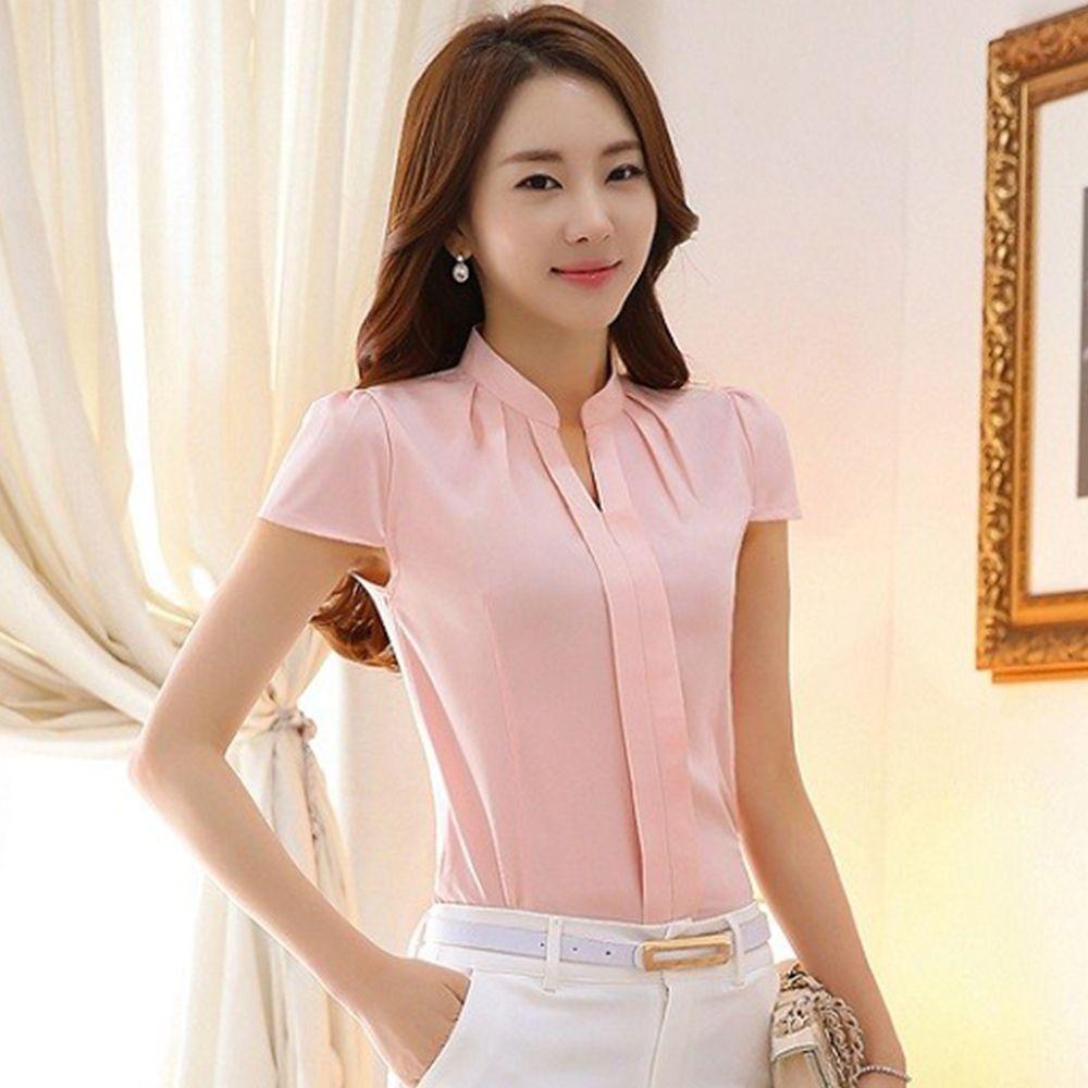 Cheap 2016 Nuevas Mujeres de la Oficina Camisas Blusas Blanco Rosa ...