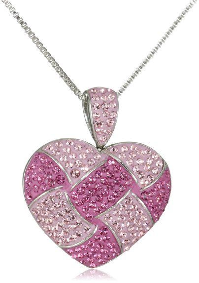 Heart jewelry google search heart shape jewelry pinterest carnevale sterling silver pink quilted heart with swarovski elements pendant necklace aloadofball Gallery