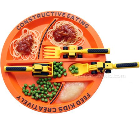 CONSTRUCTIVE EATING PLATE & UTENSILS  The bulldozer is pushing peas onto the lift fork… the fork is lifting to the mouth receptacle… and it's GOOD!  Make mealtime constructive and fun, even for fussy eaters, with our Constructive Eating Plate and Utensils! Meal time can seem like a long haul, but with our Construction Plate and Utensils, shoveling food into our mouths has never been so exciting.    The Construction Plate has slotted parking areas for each utensil and also features built-in…