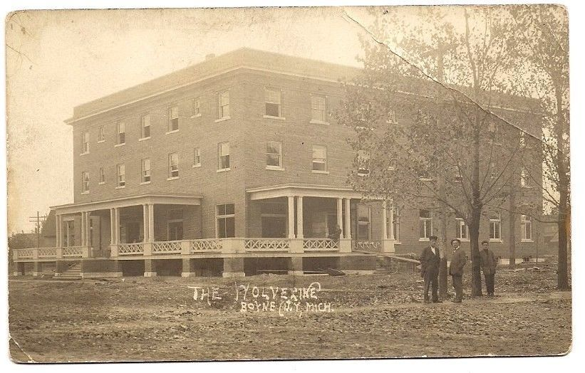 Boyne City Michigan Wolverine Hotel 1911 Rppc Postcard