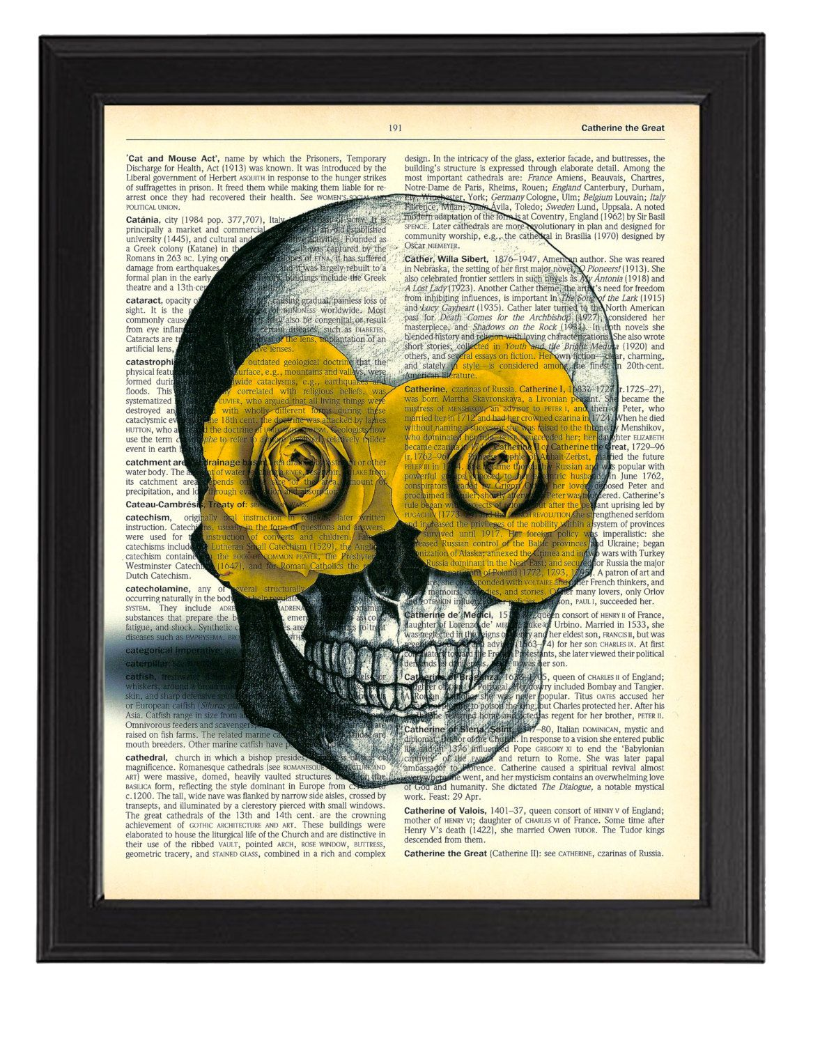 Skull with Yellow Flowers Art Print, Gothic Skull Poster, Vintage ...