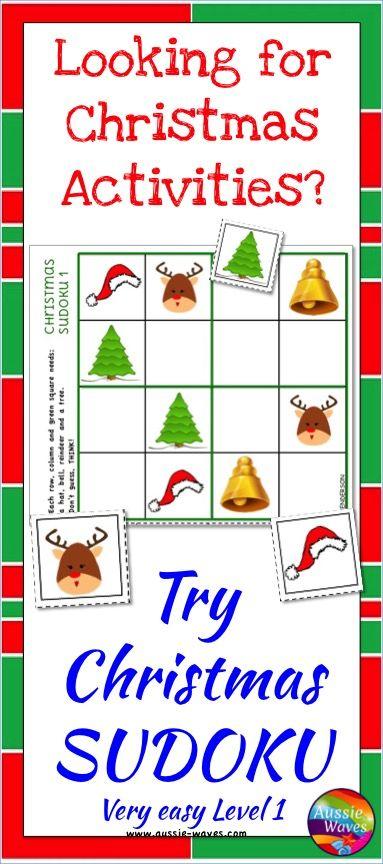 Christmas Sudoku.Christmas Math Sudoku Puzzles Logical Thinking Easy