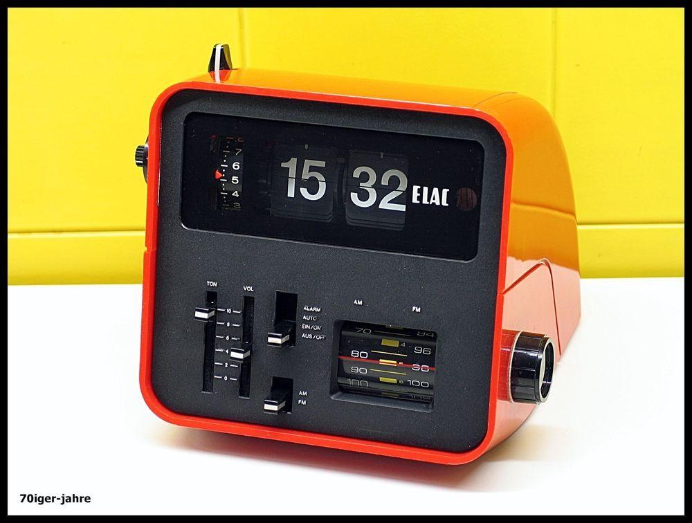 ELAC RD100-Klappzahlen-Radiowecker-Wecker-Radio-Uhr-FlipClock-70er Jahre-Vintage