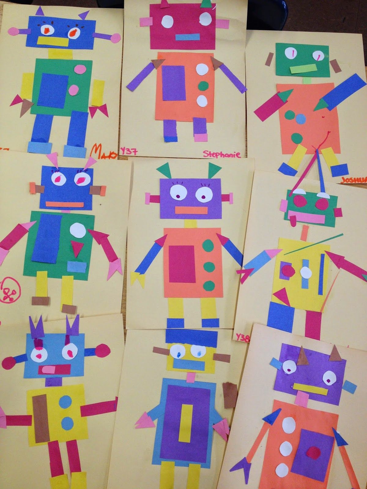 Geometric Robots Elements Of Design Color Shape Art Lesson Completed By Students With Autism