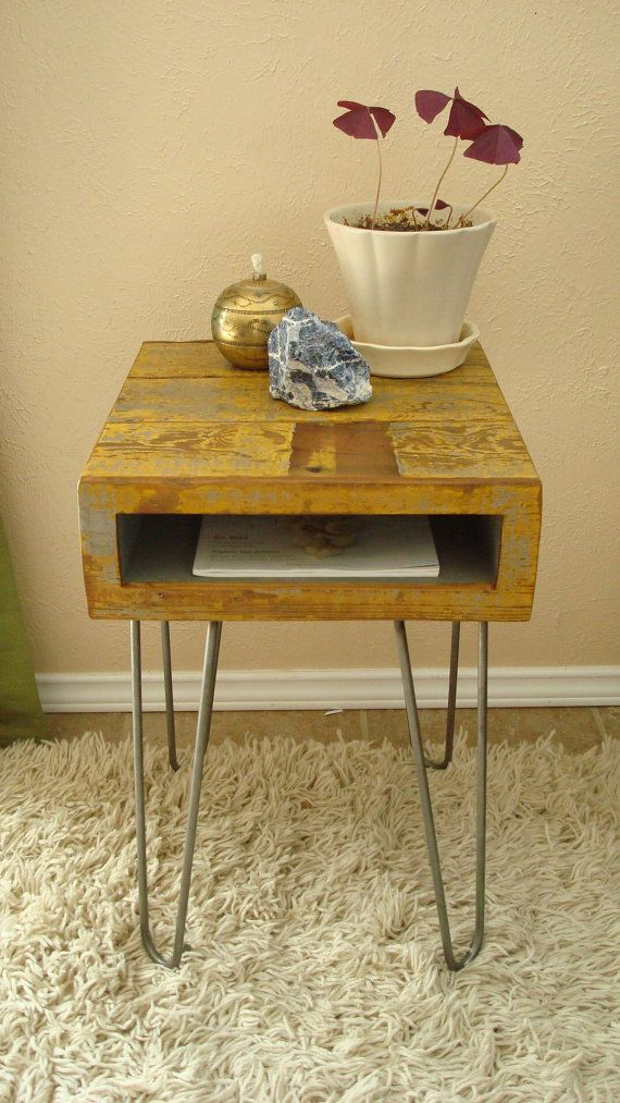 Rustic Wood Bedside Table: Handmade Mid Century Modern Inspired Rustic End Table