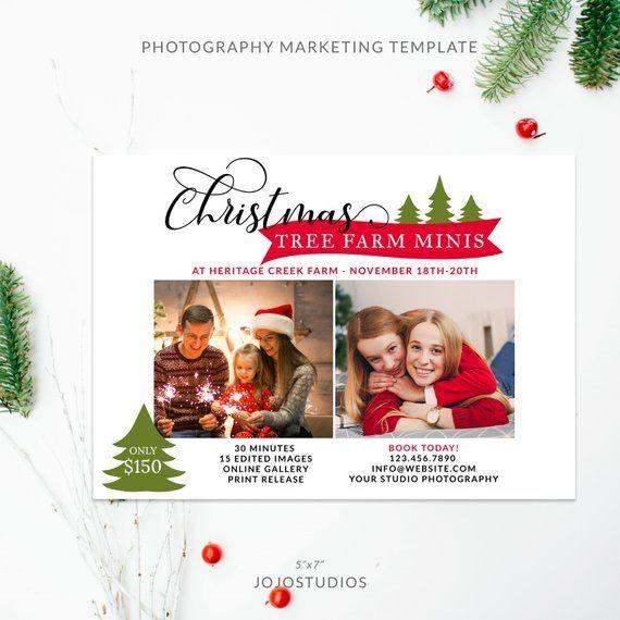 5X7 Christmas Tree Farm Mini Session Photography Template, Christmas
