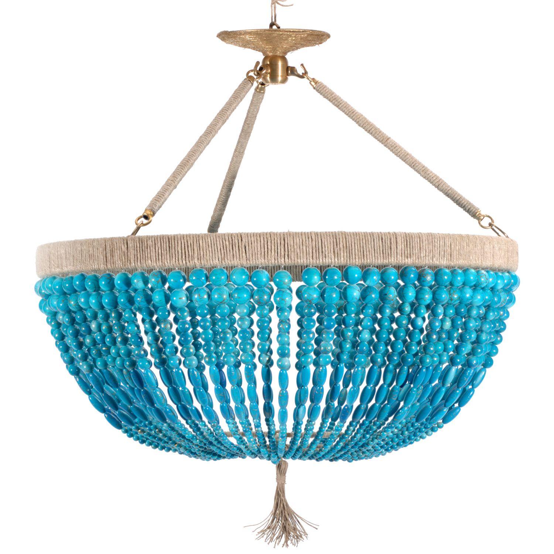 Ro Sham Beaux Malibu Turquoise 3 arm Chandelier RSB23