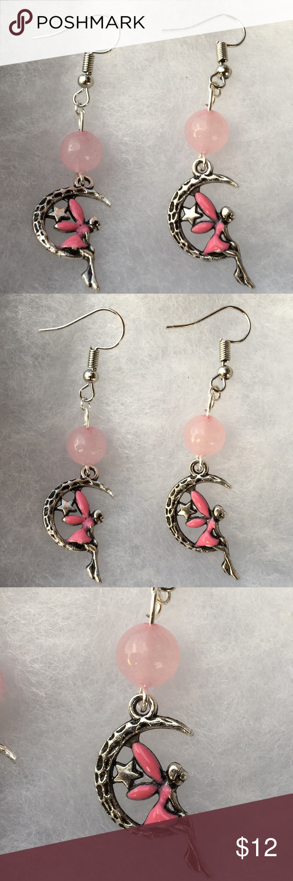 ee14155c1 Rose Quartz Pink Fairy Earrings These beautiful earrings are made with  natural rose quartz and hand painted pink fairy charms. The hooks are  sterling silver ...
