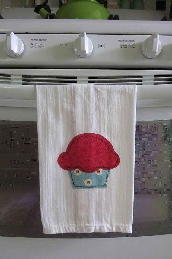 Appliqued Cupcake Towel by jillaweena on Etsy, $7.50
