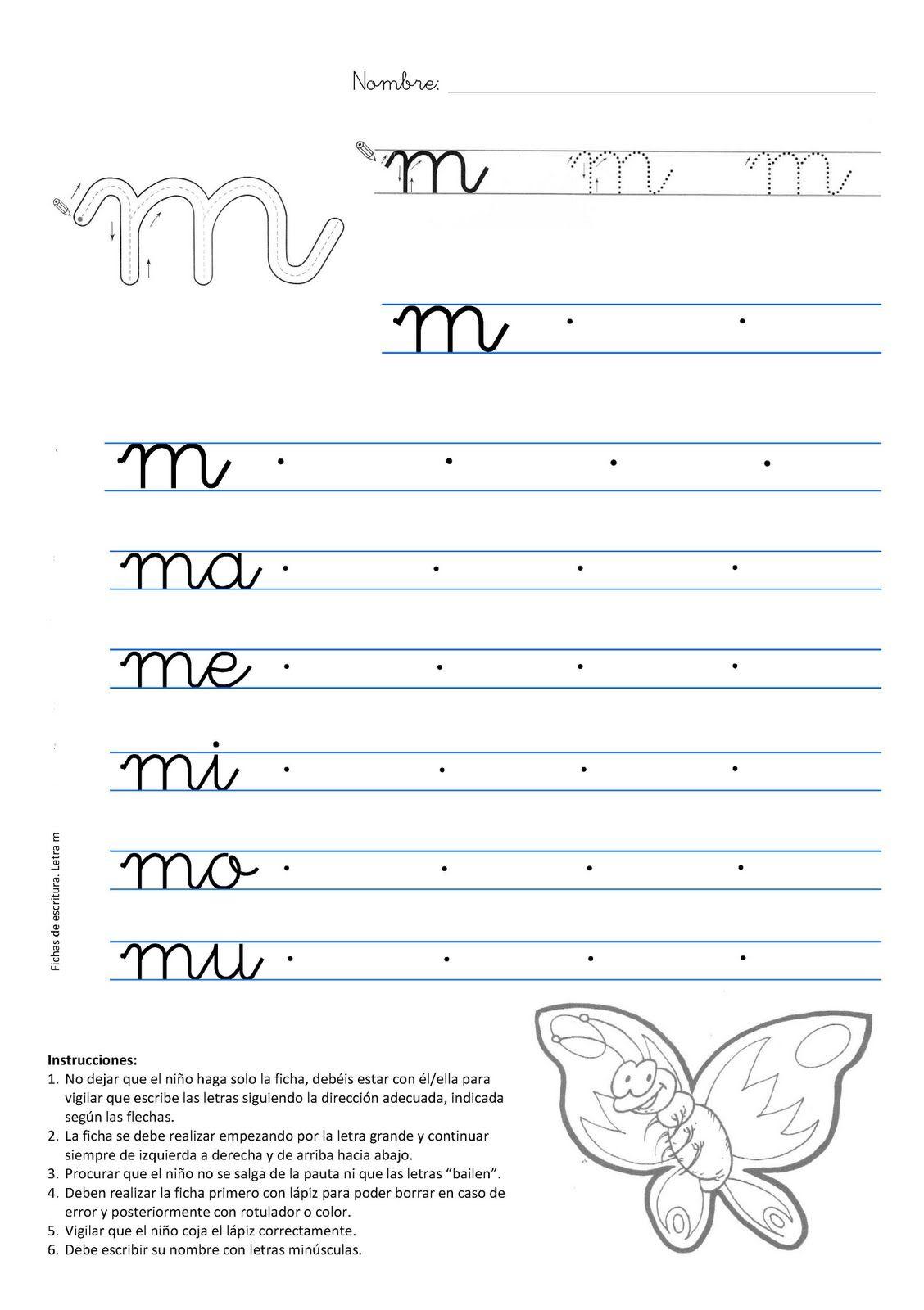 Caligrafia letra m mariposa | letra cursiva | Pinterest | School ...