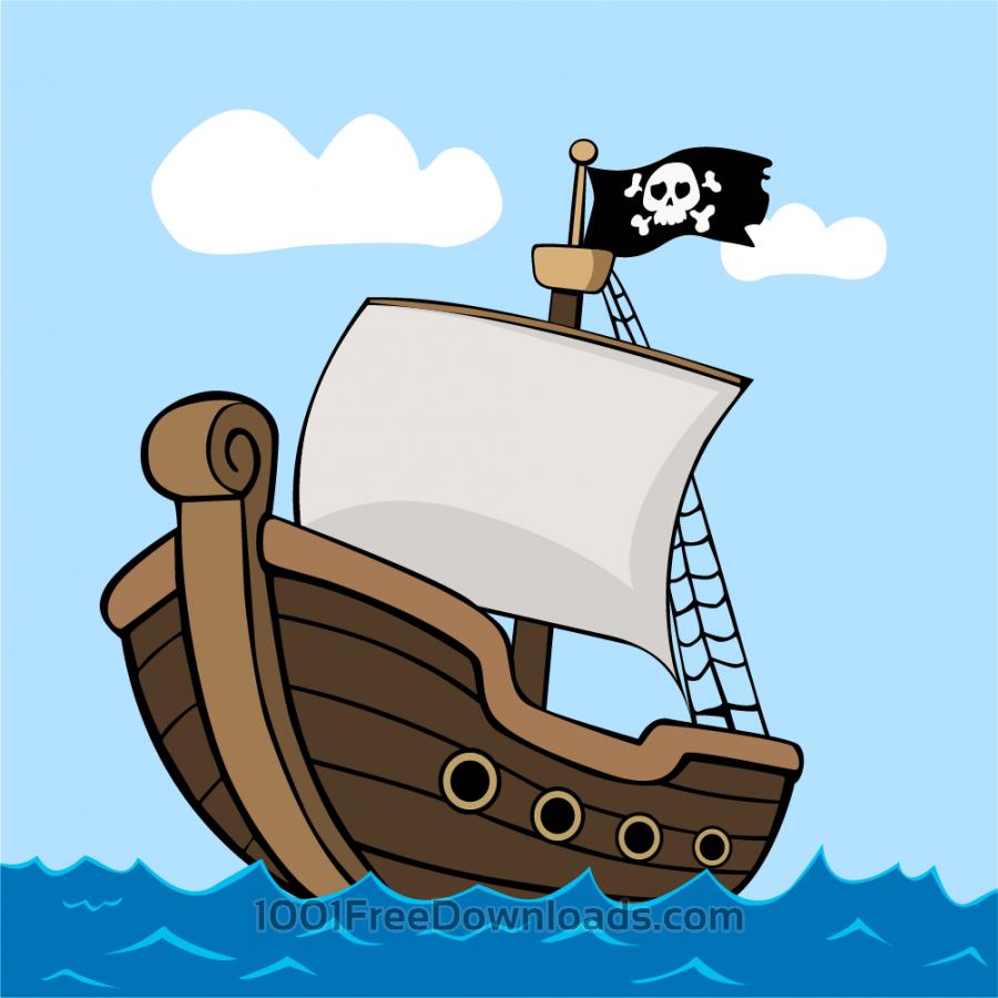 Free Vectors Pirate Ship On Sea Vintage Cartoon Pirate Ship Pirate Cartoon Boat Cartoon