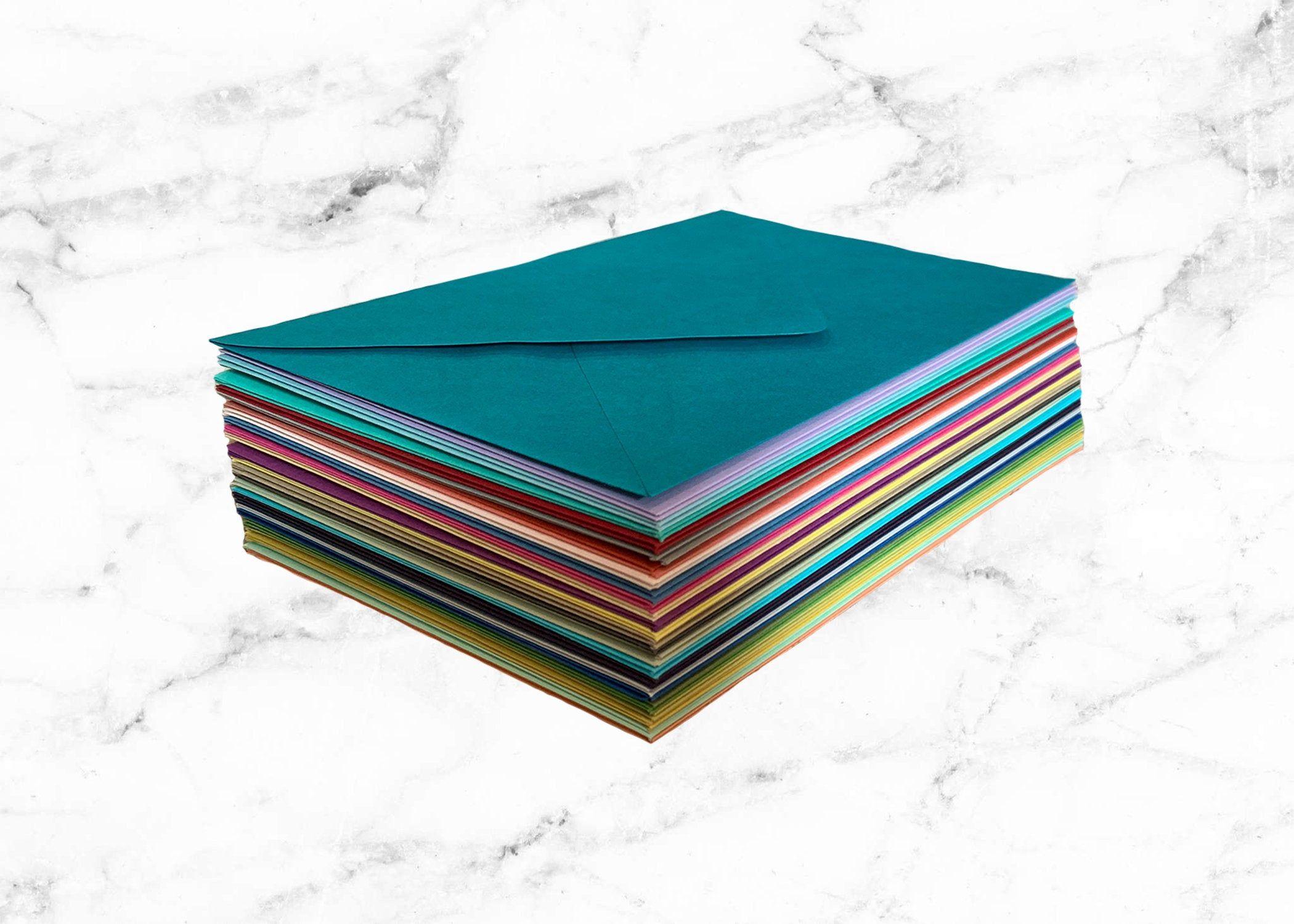 25 mixed color envelope set 5x7 a7 pointed flap envelopes