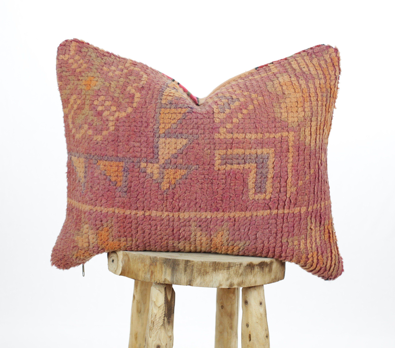 Moroccan Rug pillow, Vintage Berber Rug Cushion, Boho Pillow, Wool Throw Pillow, Wool Cushion, Lumbar Pillow Large
