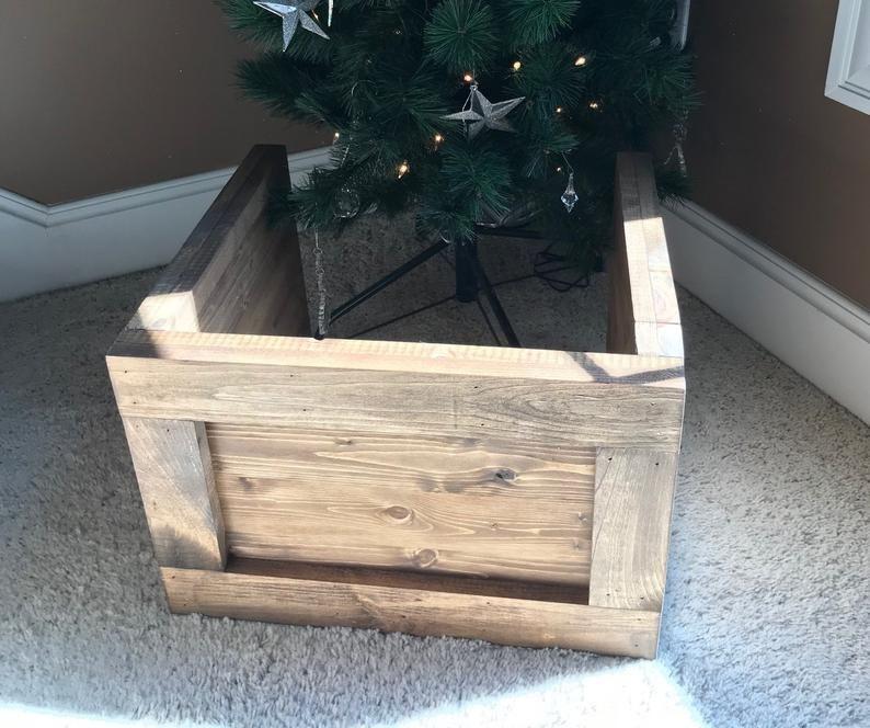 Folding Slim Tree Christmas Tree Box Stand Wood Tree Skirt Etsy Christmas Tree Box Christmas Tree Box Stand Wood Christmas Tree