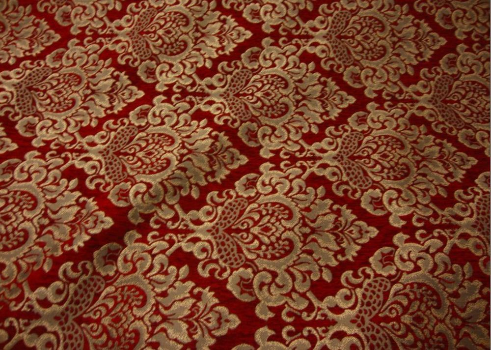 Red Gold Damask Chenille 58 Inch Wide Upholstery Sofa Fabric