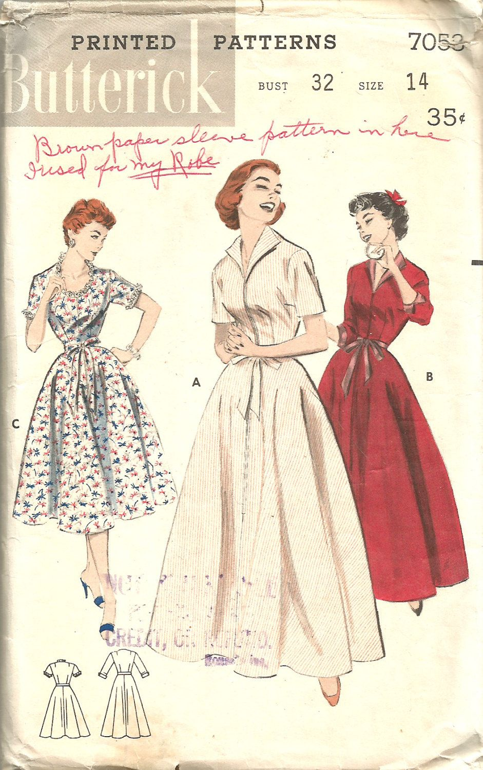 f2bbb72746 Butterick 7053 (1954). Butterick 7053 (1954) Vintage Sewing Patterns