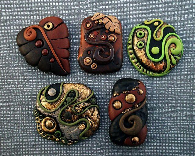 Polymer clay Cabochons by MandarinMoon, via Flickr - I so LOVE Chris's work!